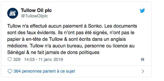 """Démenti officiel sur Twitter : """" Tullow Oil PLC n'a effectué aucun paiement à Ousmane Sonko, les documents sonts des faux évidents"""" (Document)"""