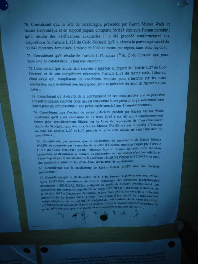 Documents: Découvrez les raisons de l'invalidation des candidatures de Karim Wade et Khalifa Sall