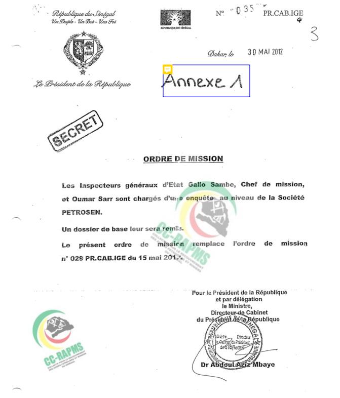 Affaire Petro-Tim : La lettre de mission de l'IGE émane de Macky Sall (Document)