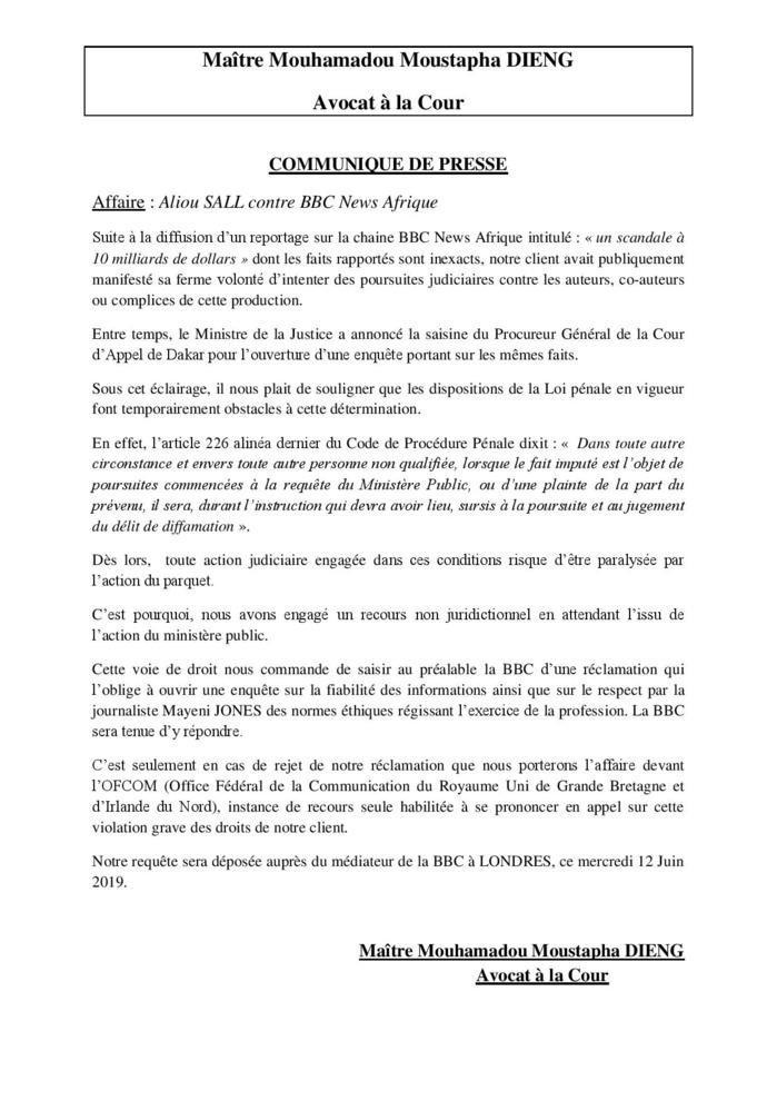 Communiqué de la défense d'Aliou Sall dans son affaire contre la BBC (Document)