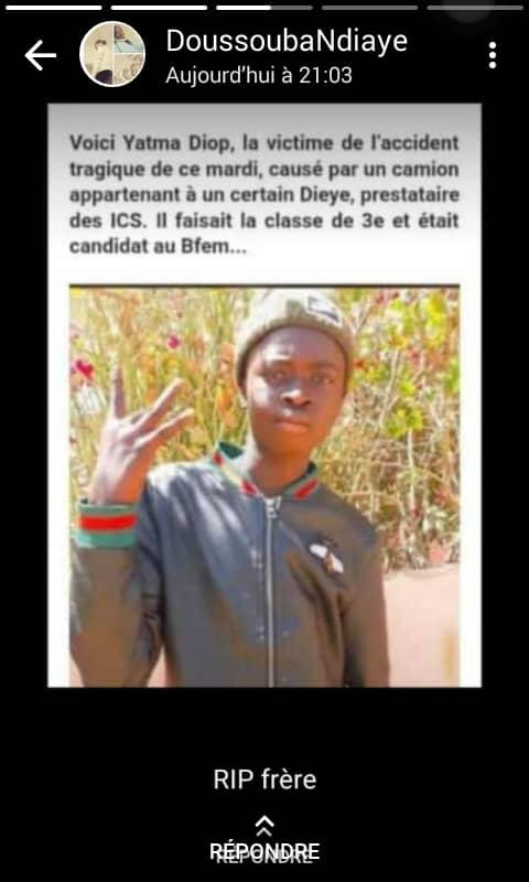 Mboro: un chauffeur de car « Ndiaga Ndiaye » meurt au volant de son véhicule à quelques mètres de l'endroit où le camion des ICS a tué le jeune Yatma Diop