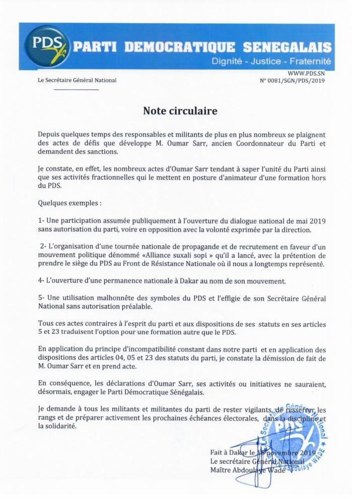 Wade exclut Oumar Sarr du Pds (Document)