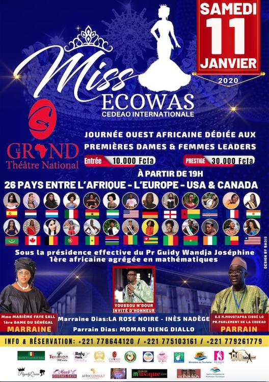 Notez bien le rendez-vous du 11 Janvier au grand theatre de Dakar avec Miss Ecoways qui arrive avec les plus belles filles de l'Afrique de l'Ouest
