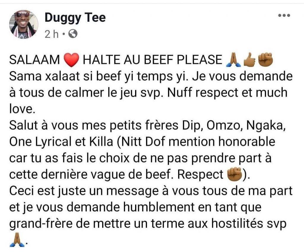 Le message de Duggy Tee aux rappeurs clash du moment