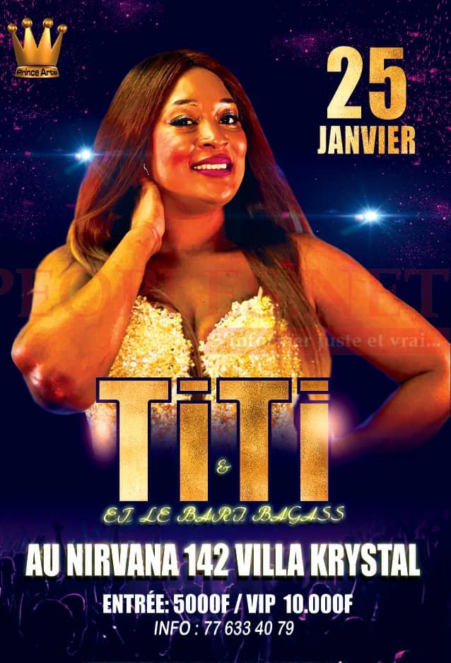 Soirée retrouvailles la lionne de la musique TITI ce 25 janvier à la Villa Cristal derrière le Nirvana aux Almadies