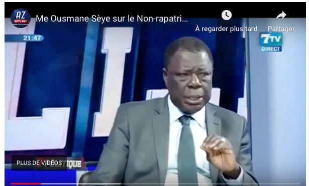 """VIDEO - Me Ousmane Sèye sur la situation des Sénégalais bloqués à Wuhan: """"Macky Sall a raison"""""""