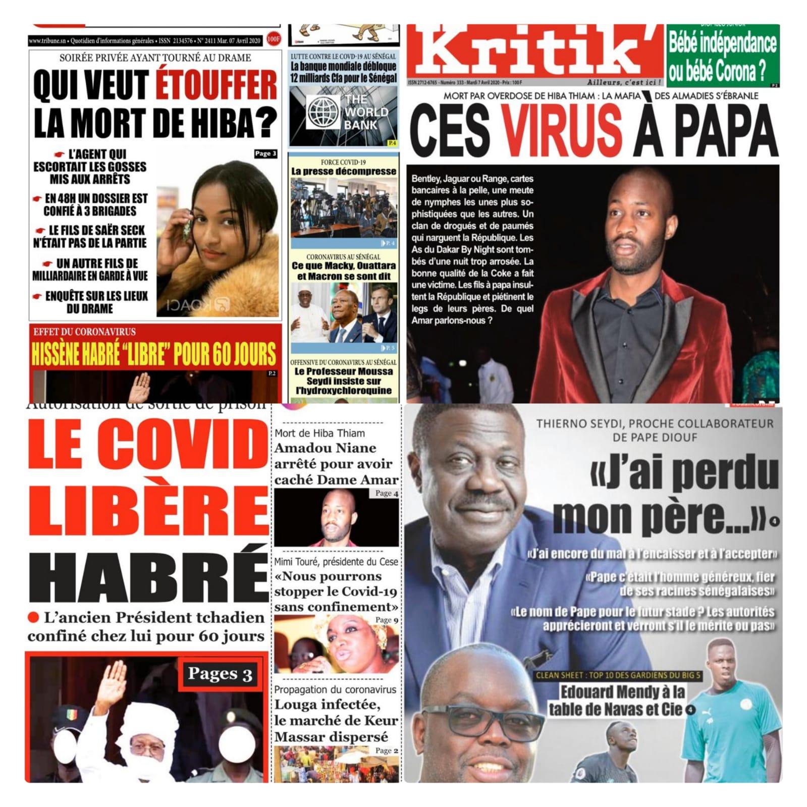 REVUE DE PRESSE: Du nouveau dans la mort de Hiba Thiam, Dame Amar et cie tombés, Hisséne Habré libre, décé de Pape Diouf....