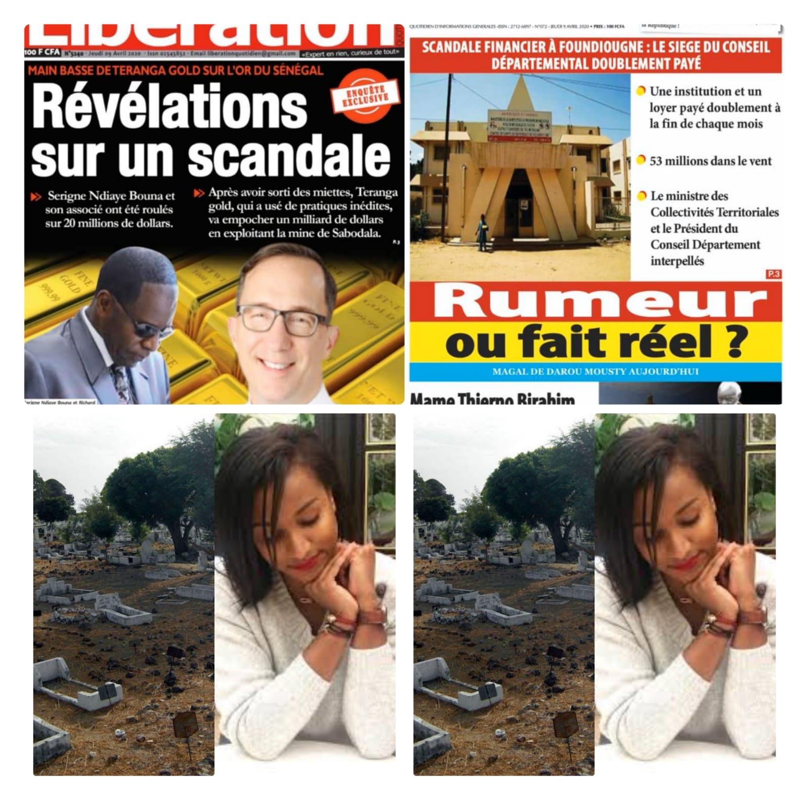 REVUE DES TITRES: Enterrement de Hiba Thiam, retour de parquet de Dame Amar et cie, situation covid-19 à la une des quotidiens du jour;