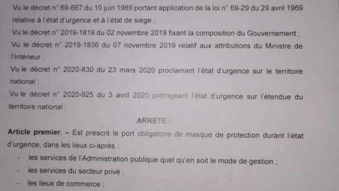 Urgent- COVID-19/ Le port du masque obligatoire : Voici le document à absolument lire!