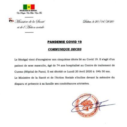 5e décès du Covid-19 au Sénégal: Le ministère de la Santé donne plus de détails sur la victime