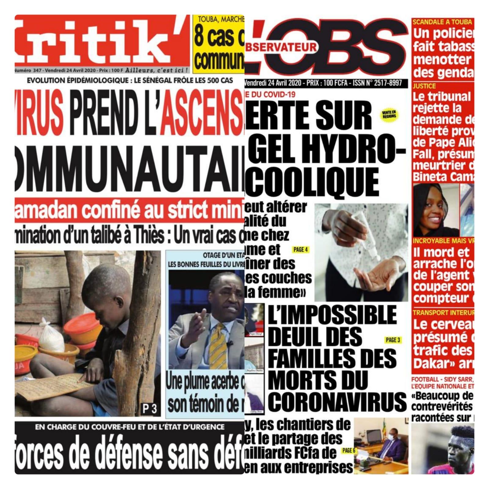 A la une des quotidiens le Sénégal enregistre son7ème décès , 66 cas testés positif debut ramadan macky maintient le couvre-feu à 20h