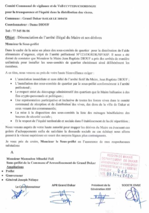 Covid-19 / Grand-Dakar – Distribution aide alimentaire : Le maire désavoué par ses administré