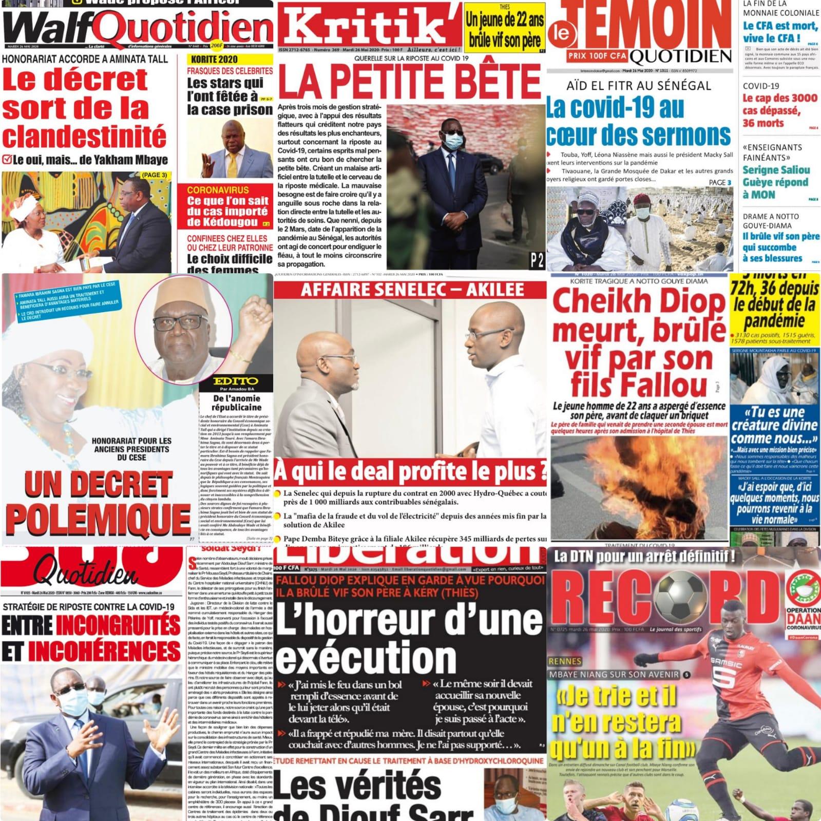 REVUE DE PRESS: La une des quotidiens du mardi 26 mai 2020