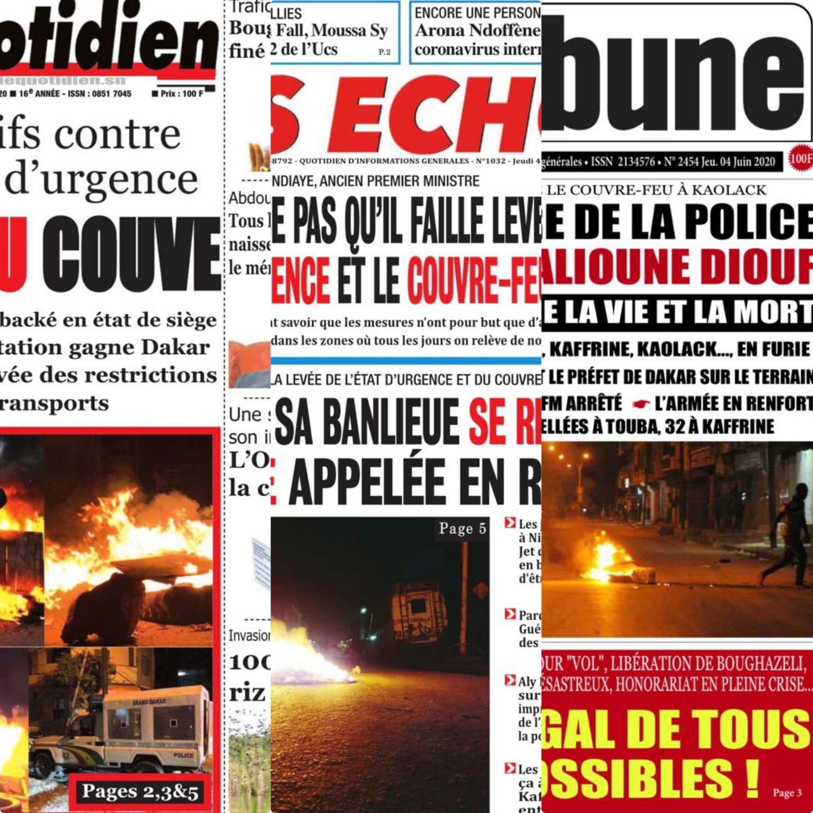 REVUE DE PRESSE: Manifestations dans le Sénégal pour levé le couvre feu à la une des quotidiens