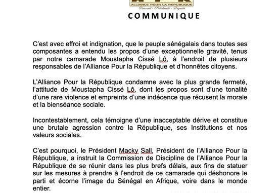 Voici le communiqué de presse du Secrétariat Exécutif National de l'APR suite aux audios de Moustapha Cissé Lô