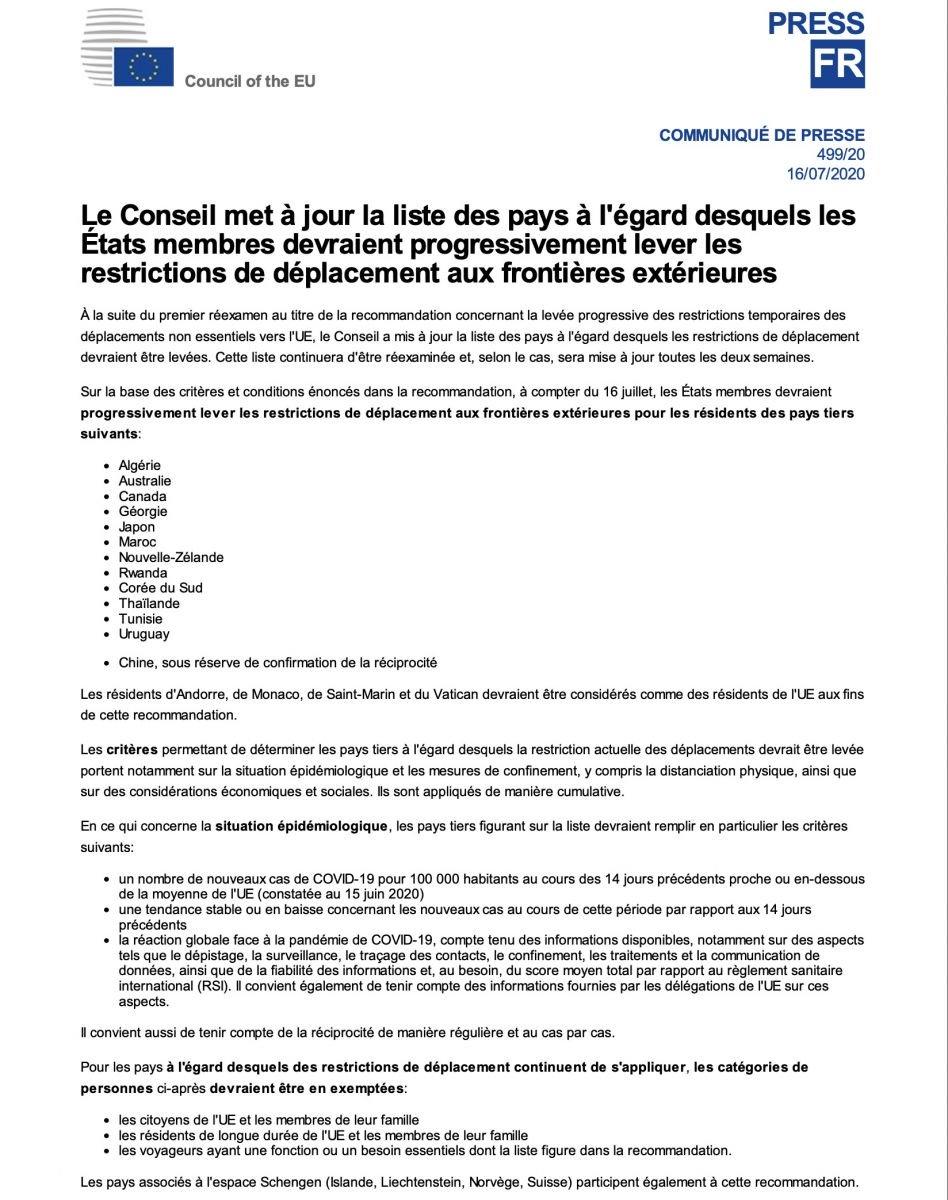 Vols internationaux : L'Ue fait marche arrière et répond au Sénégal