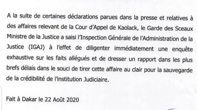 Magistrature / accusations de corruption :Voici la premiére mesure actée (Document)