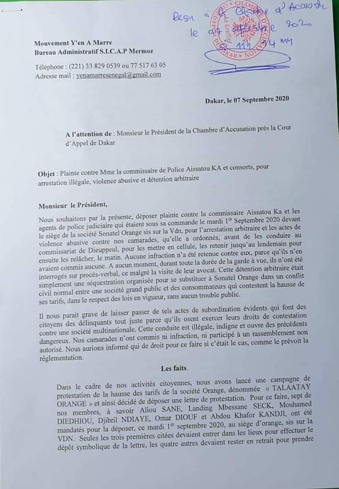 Arrestation musclée de ses membres: Y en a marre a porté plainte(Document)