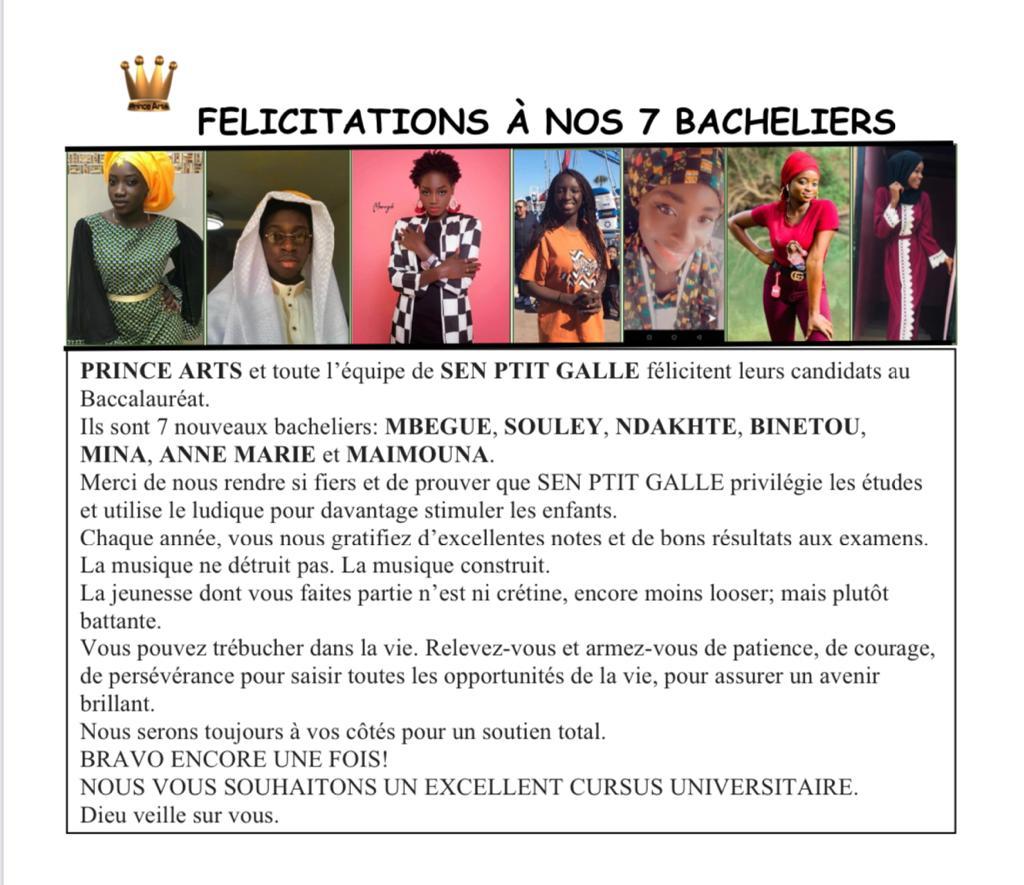 Ngoné Ndour de Prince Art et l'équipe de Sen P'tit Ngallé félicitent leurs 7 nouveaux bacheliers