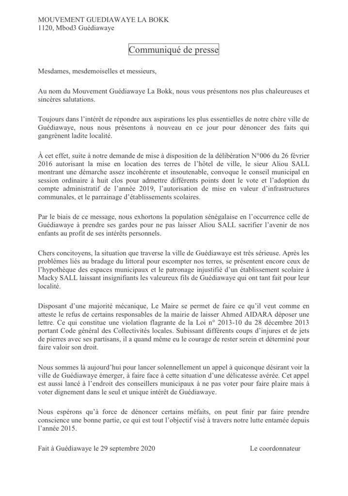 Bradage du patrimoine foncier de la mairie de Guédiawaye par Aliou Sall : Ameth Aidara tire la sonnette d'alarme et avertit