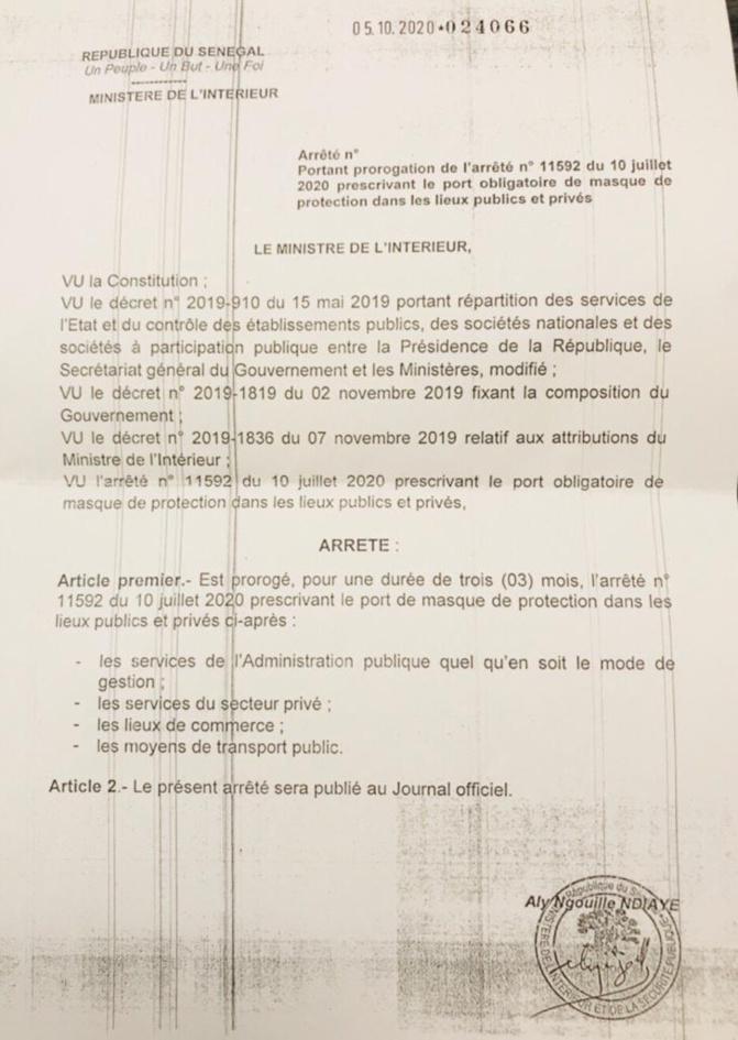 Interdiction des rassemblements dans les lieux publics et port de masque: Aly Ngouille Ndiaye proroge l'arrêté pour 3 mois Le ministre de l'Intérieur, Aly Ngouille Ndiaye, a prorogé les arrêtés interdisant les rassemblements dans certains lieux publi
