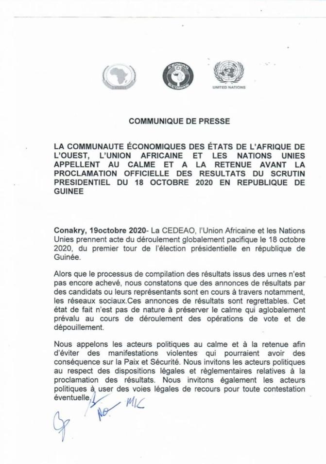 Présidentielle en Guinée: La CEDEAO, l'Ua et les Nations-Unies appellent au calme et à la retenue