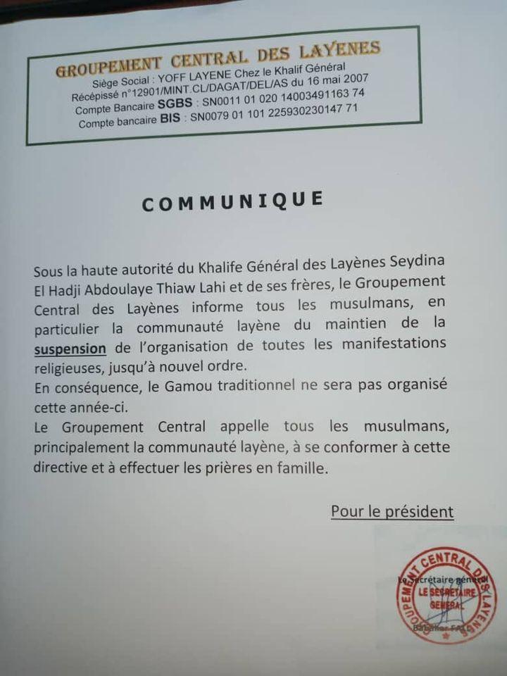 La communauté Layène ne célébrera pas le Gamou cette année.
