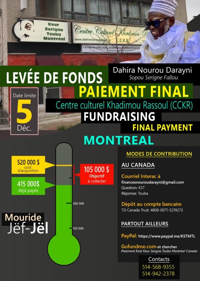Canada : Collecte de fonds pour l'acquisition du Centre culturel « Keur Khadimou Rassoul) de Montréal