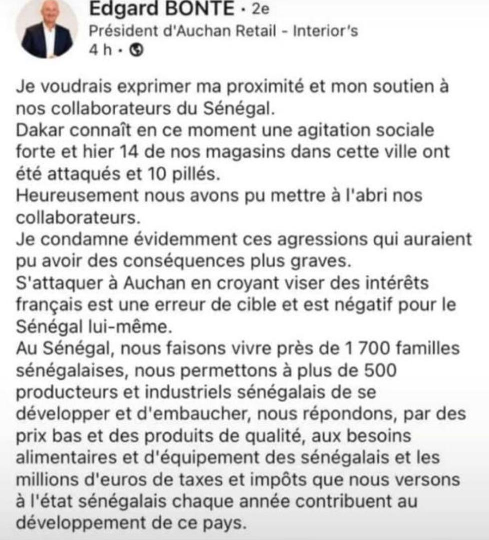 Attaques et pillages des magasins Auchan : « Une erreur de cible », selon Rétail Edgard Bonté, président d'Auchan