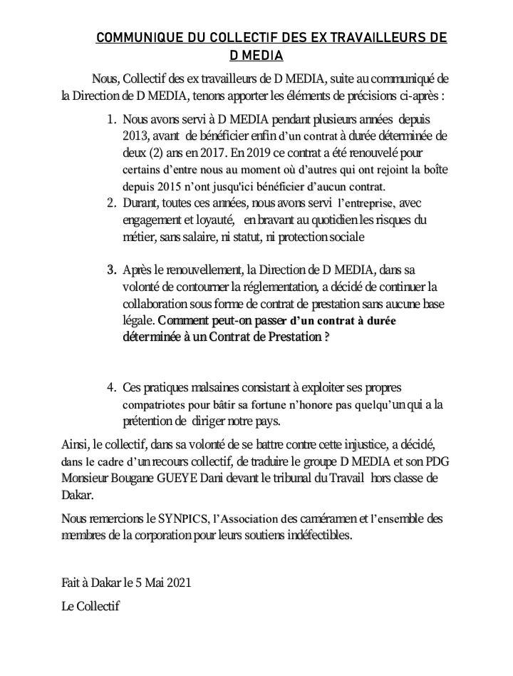 COMMUNIQUE DU COLLECTIF DES EX TRAVAILLEURS DE D MEDIA