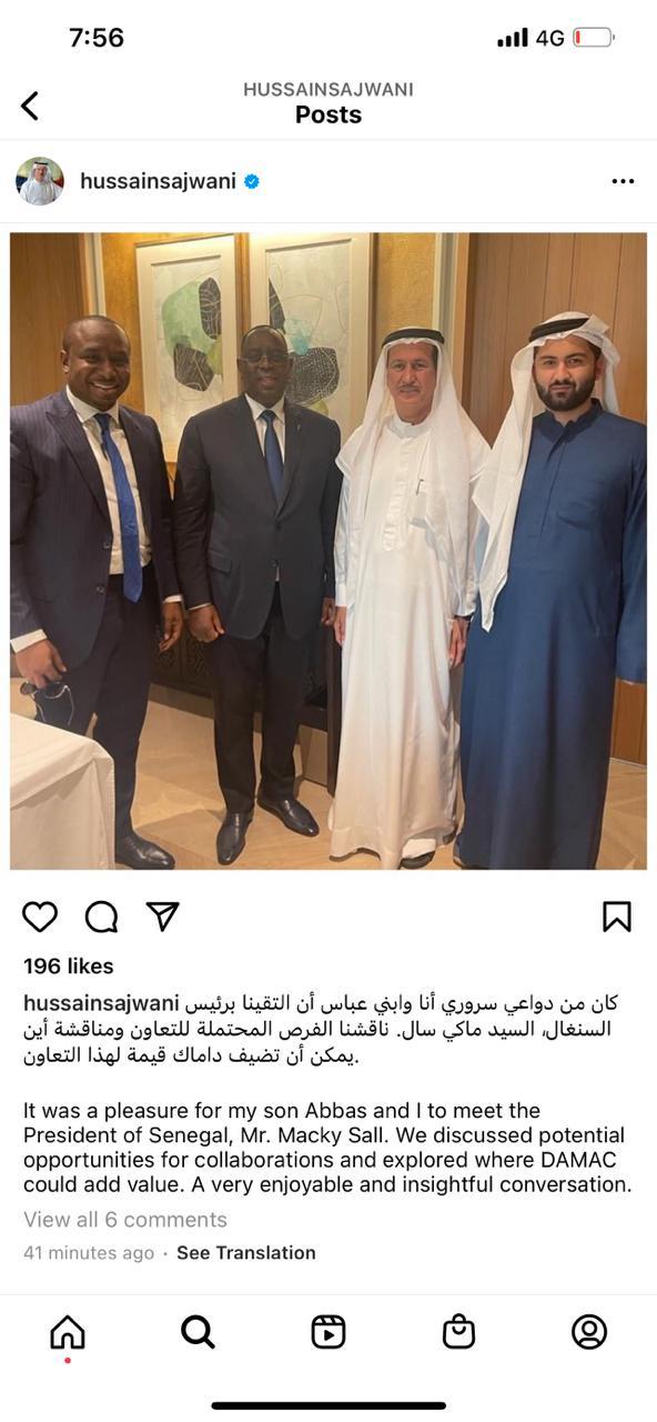 FORUM DE DUBAI: L'opérateur économique Elimane Lam vient de signer une convention avec la société  DAMAC de Hussain Sajwani,le plus riche homme d'affaire a à Dubai