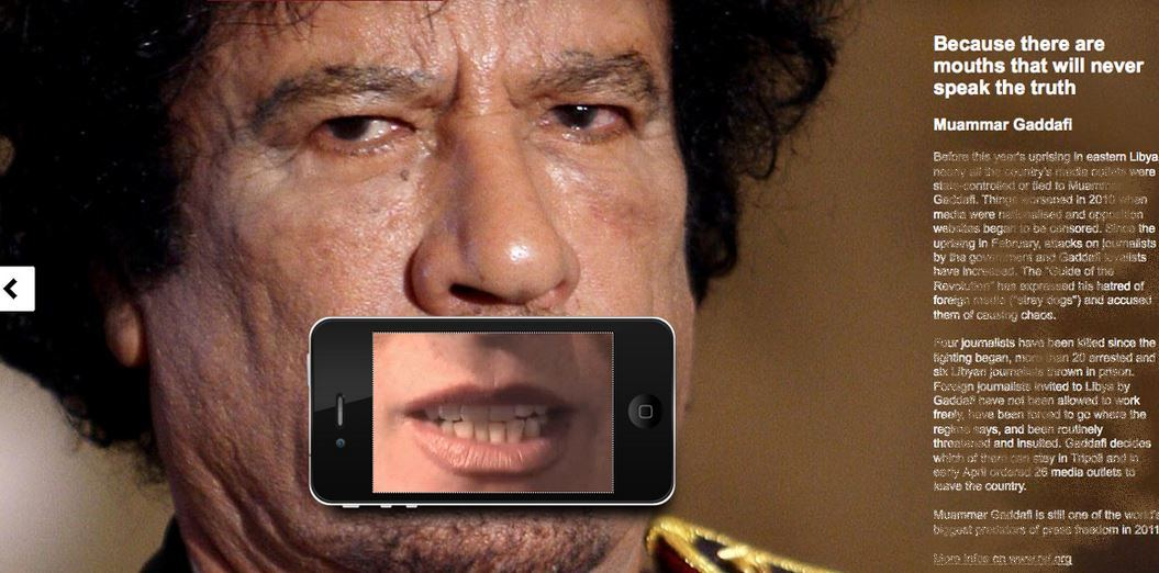 Mort des journalistes au Mali: Les reporters sans frontière utilisent l'image de Khadafi pour mettre en garde les journalistes contre Al-Qaïda