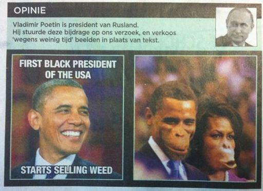 Un journal belge caricature le couple Obama en singe