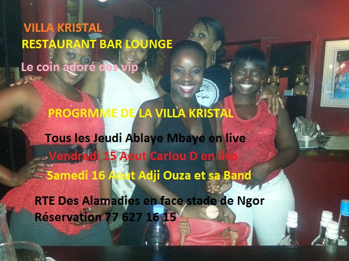 Ablaye Mbaye , Carlou Det Adji Ouza à la Villa Kristal ce Jeudi Vendredi et Samedi