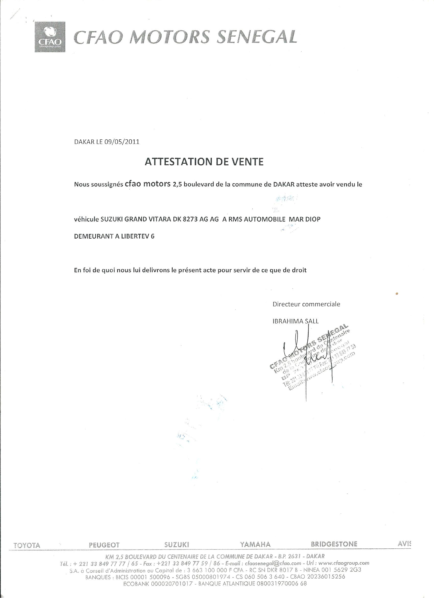 attestation de vente voiture d claration de cession certificat de cession cerfa 15776 document. Black Bedroom Furniture Sets. Home Design Ideas