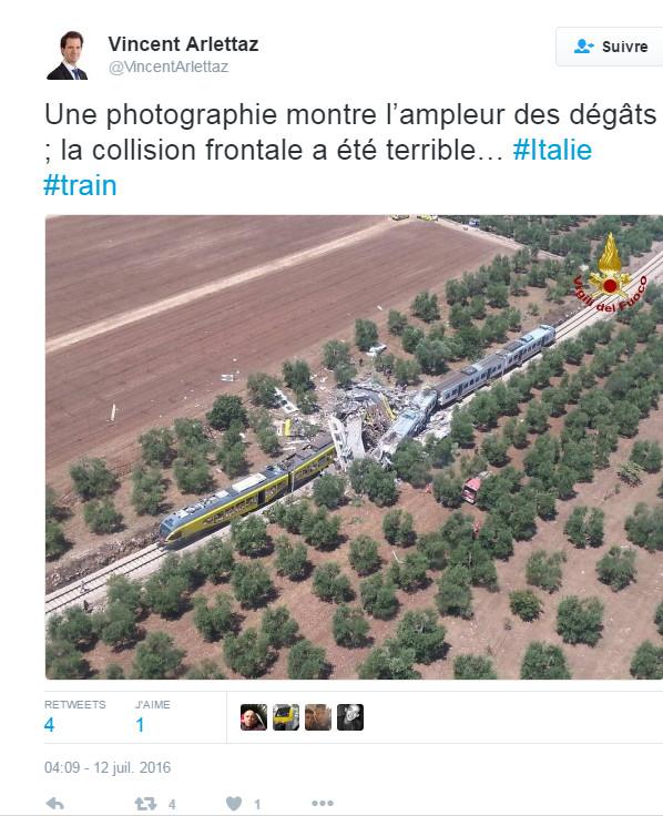 Terrible collision entre deux trains en Italie : Au moins vingt morts