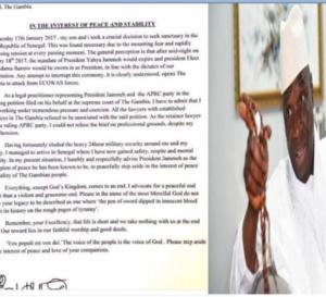 Edu Gomez l'avocat de Yahya Jammeh s'est échappé hier (mardi) au Sénégal et lui envoie une lettre