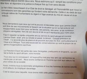 Lamine Diack : Le contenu de la pétition