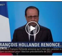 """Vidéo-Coup de tonnerre: """"J'ai décidé de ne pas être candidat à l'élection présidentielle"""", François Hollande"""