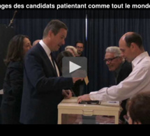 Les images des candidats patientant comme tout le monde pour aller voter