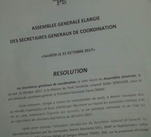 AG élargie aux secrétaires généraux de coordination : la résolution du Parti Socialiste du 21 octobre 2017