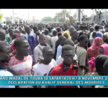 Grand Magal de TOUBA 2017 : discours du Khalife Général des Mourides Cheikh Sidy Moukhtar Mbacké. TOUBA le 1 er Safar 1439 H