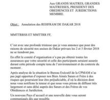 Congrès des Francs-Maçons à Dakar: Voici le document qui confirme l'annulation de la rencontre