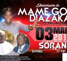 JOUR J -30 14 éme Anniversaire de Mame Goor Diazaka le 03 Mars à Sorano. Pensez à vos réservations.