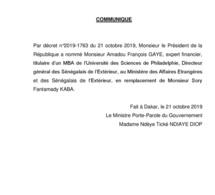 Monsieur Amadou François Gaye remplace Sory Fantamady Kaba