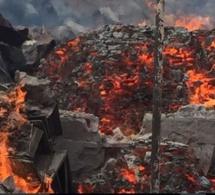 Mbeubeuss: Une plateforme réduite en cendres par un incendie