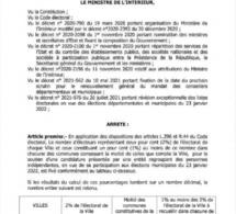 Elections locales : l'Arrêté ministériel fixant les conditions pour soutenir les candidatures d'une entité indépendante
