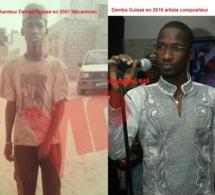 Le chanteur Demba Guissé en 2001 quand il était mécanicien et en 2016 artiste compositeur.